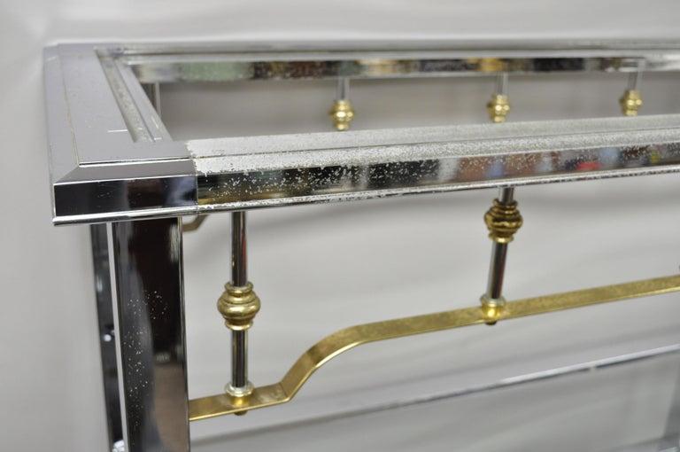 Large Chrome & Brass Hollywood Regency Mid-Century Modern Étagère Bookcase Shelf For Sale 3