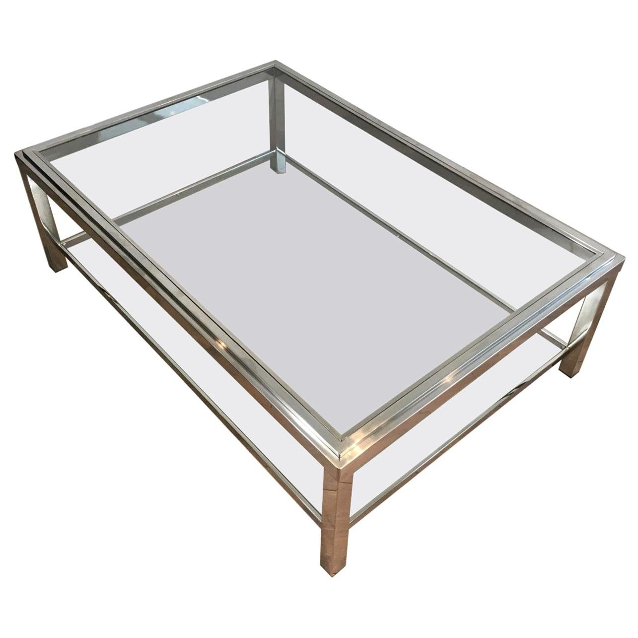 Large Chrome Coffee Table, French, circa 1970