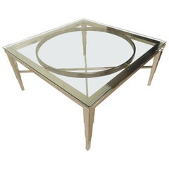 Large Chrome Glass Coffee Table