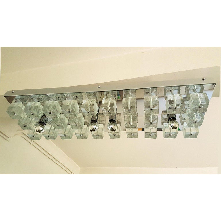 Italian Large Chrome and Murano Glass Cubes Flush Mount Light, Sciolari Ligtholier Style For Sale