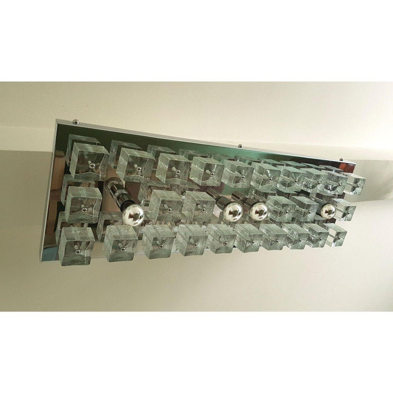 Late 20th Century Large Chrome and Murano Glass Cubes Flush Mount Light, Sciolari Ligtholier Style For Sale