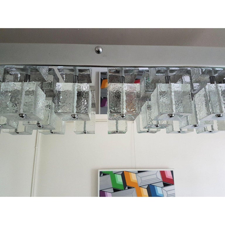 Large Chrome and Murano Glass Cubes Flush Mount Light, Sciolari Ligtholier Style For Sale 1