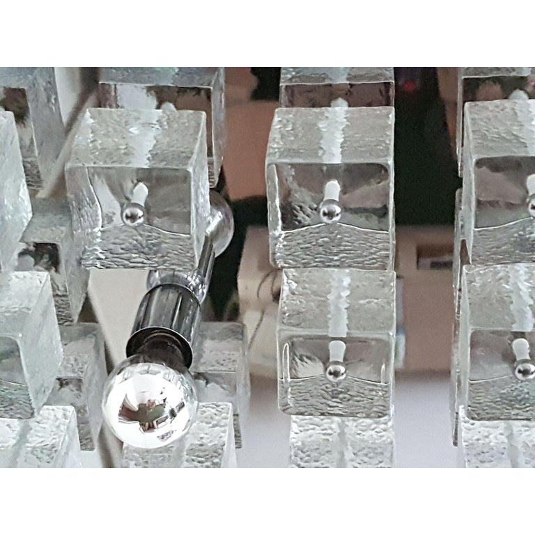 Large Chrome and Murano Glass Cubes Flush Mount Light, Sciolari Ligtholier Style For Sale 3