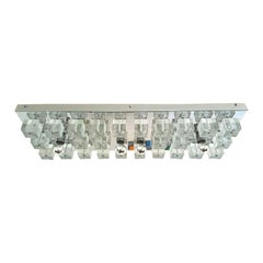 Large Chrome and Murano Glass Cubes Flush Mount Light, Sciolari Ligtholier Style