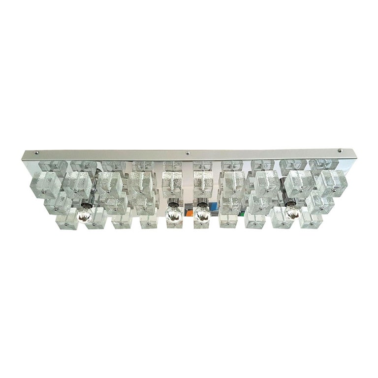 Large Chrome and Murano Glass Cubes Flush Mount Light, Sciolari Ligtholier Style For Sale