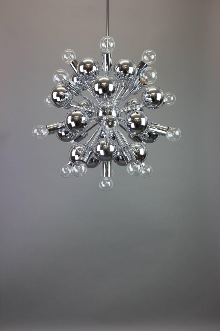 Mid-Century Modern Large Chrome Space Age Sputnik Chandelier by Cosack, Germany, 1970s For Sale