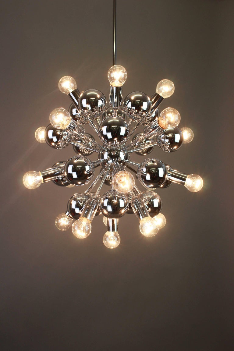 Late 20th Century Large Chrome Space Age Sputnik Chandelier by Cosack, Germany, 1970s For Sale