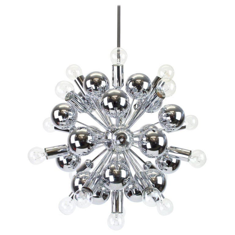 Large Chrome Space Age Sputnik Chandelier by Cosack, Germany, 1970s For Sale
