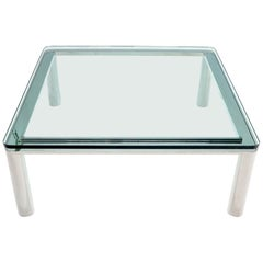 Large Chrome Square Floating Thick Glass Top Coffee Table