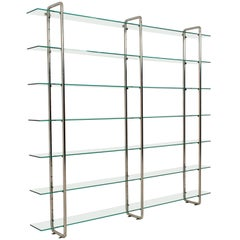 Large Chrome Tubular Steel and Glass Art Deco Shelving Unit, 1930s