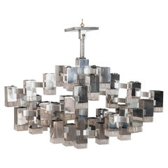 Large Chromed Steel and Glass Cubist Chandelier by Gaetano Sciolari, circa 1960