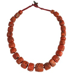 Large Chunky Tibetan Coral Necklace