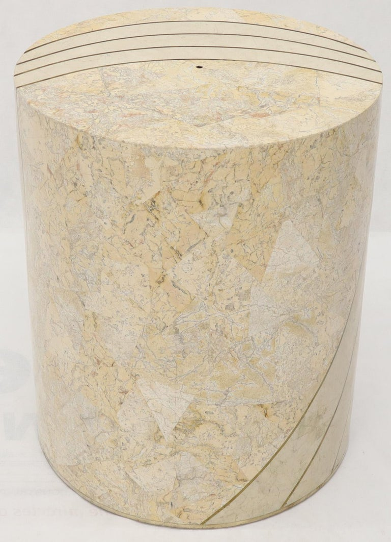 Large Cylinder Tessellated Stone Veneer Brass Inlay Dining