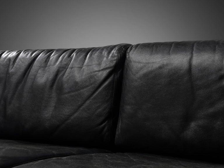 Large Cini Boeri for Knoll 'Gradual' Set in Black Leather For Sale 5