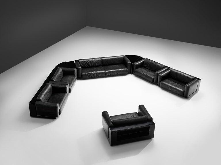 Large Cini Boeri for Knoll 'Gradual' Set in Black Leather For Sale 6