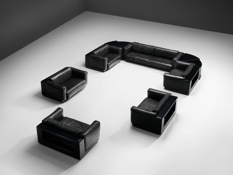Italian Large Cini Boeri for Knoll 'Gradual' Set in Black Leather For Sale