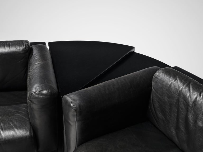 Large Cini Boeri for Knoll 'Gradual' Set in Black Leather In Good Condition For Sale In Waalwijk, NL