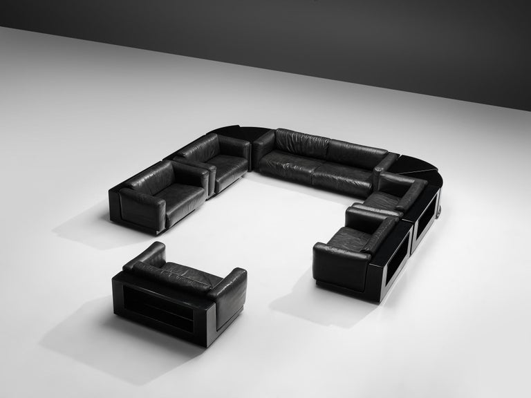 Late 20th Century Large Cini Boeri for Knoll 'Gradual' Set in Black Leather For Sale