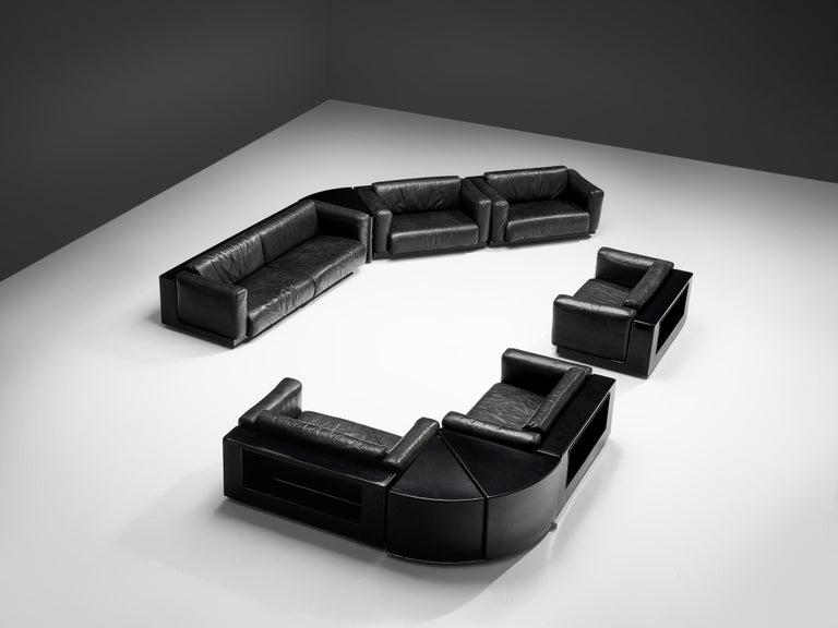 Large Cini Boeri for Knoll 'Gradual' Set in Black Leather For Sale 2