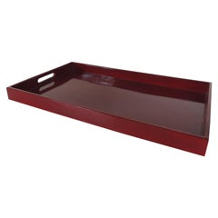 Large Cinnabar Rectangular Lacquered Serving Tray with Handles
