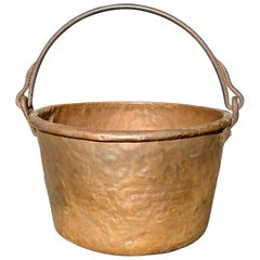 Large circa 1825 American Brass Jelly Pail with Wrought Iron Handle
