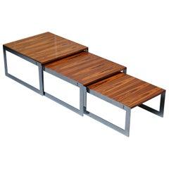 Large circa 1960s Merrow Associates Hardwood & Chrome Nest of Tables Great Size