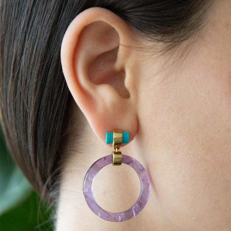 Contemporary Large Circle Hoops, Yellow Silver, Amethyst, Turquoise  For Sale