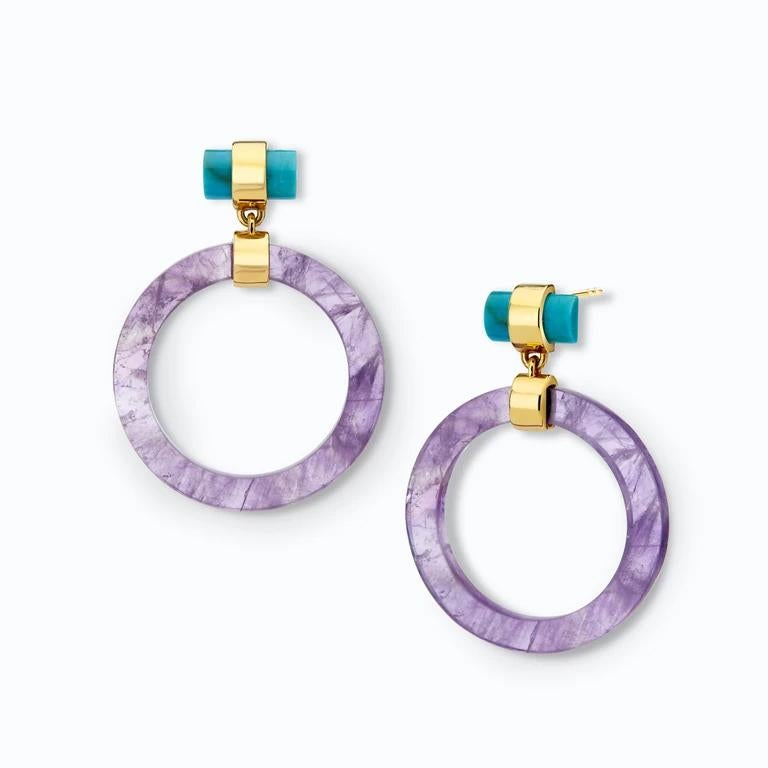 Cabochon Large Circle Hoops, Yellow Silver, Amethyst, Turquoise  For Sale