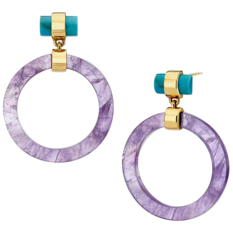 Large Circle Hoops, Yellow Silver, Amethyst, Turquoise  For Sale