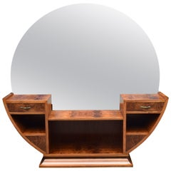 Large Circular Art Deco Walnut Dressing Table, circa 1930