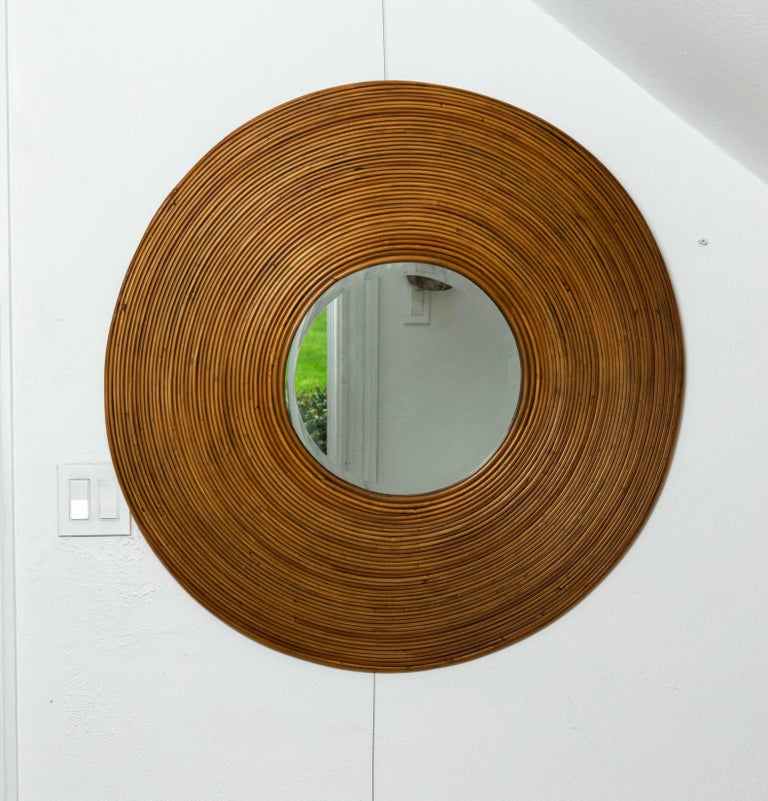 Mid-Century Modern Large Circular Beveled Mirror with Bamboo Red Surround For Sale