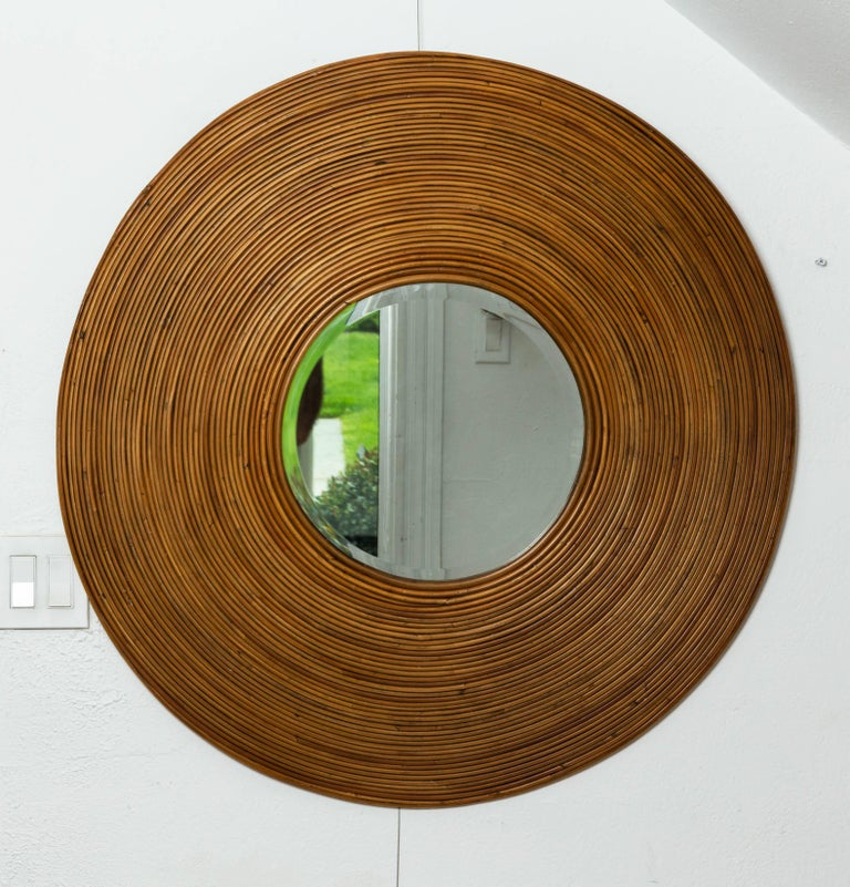 Italian Large Circular Beveled Mirror with Bamboo Red Surround For Sale