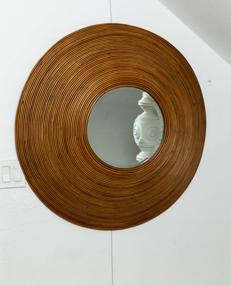 Large Circular Beveled Mirror with Bamboo Red Surround In Good Condition For Sale In Bridgehampton, NY