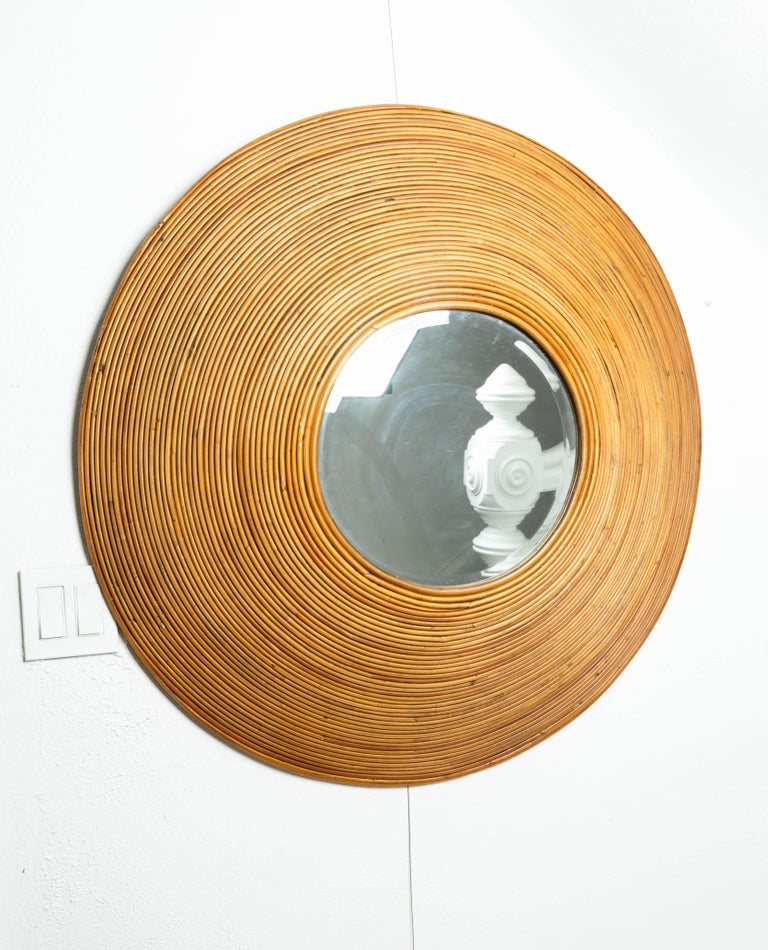 20th Century Large Circular Beveled Mirror with Bamboo Red Surround For Sale