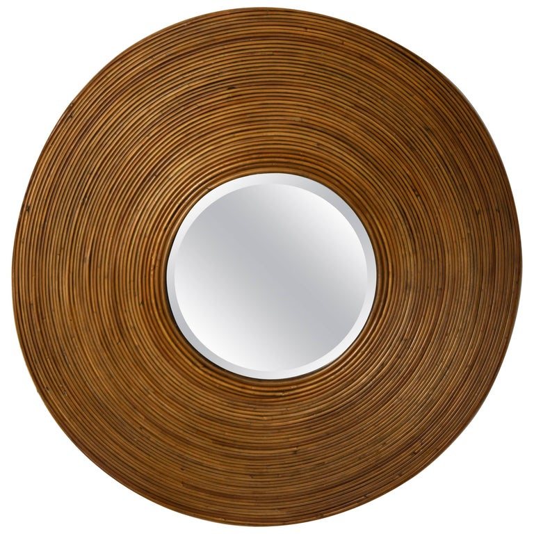 Large Circular Beveled Mirror with Bamboo Red Surround For Sale