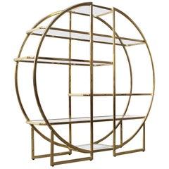 Large Circular Brass Gold Room Divider Étagère with Glass Display Shelves