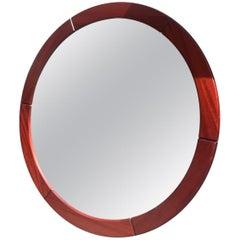 Large Circular Danish Modern Teak Wall Mirror by John Kristoffersen & Son 1970s