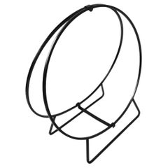 Large Circular Mid Century Wrought Iron Log Holder