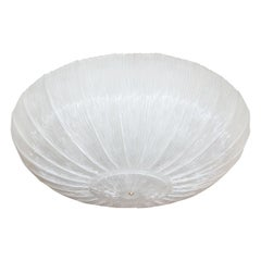 Large Circular Textured Fluted Glass Ceiling Fixture