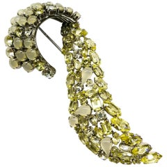 Large citrine and opaline paste 'scroll' brooch, Christian Dior, Germany, 1962