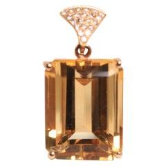 Large Citrine Emerald Cut Pendant with Yellow Gold Diamond Bale