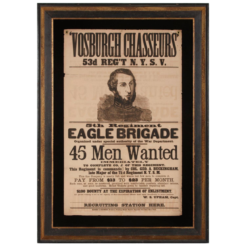 Large Civil War recruitment Broadside for the 53rd New York Volunteer Infantry