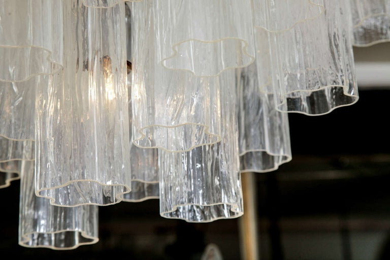 Large Italian clear glass cylinder 'Claridge's' Chandelier In Excellent Condition For Sale In London, GB