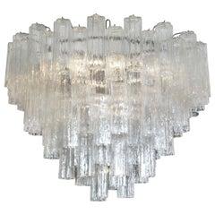 Large Italian clear glass cylinder 'Claridge's' Chandelier