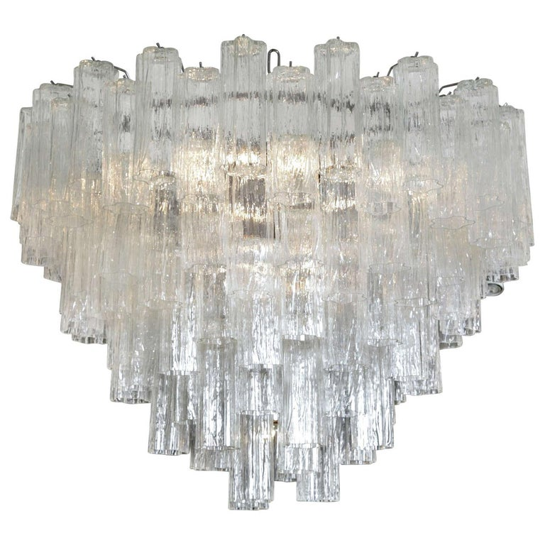 Large Italian clear glass cylinder 'Claridge's' Chandelier For Sale