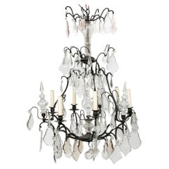 Large Classic French Crystal Chandelier with 6 Lights