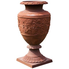 Large Classical Cast Iron Garden Vase in the 18th Century Style
