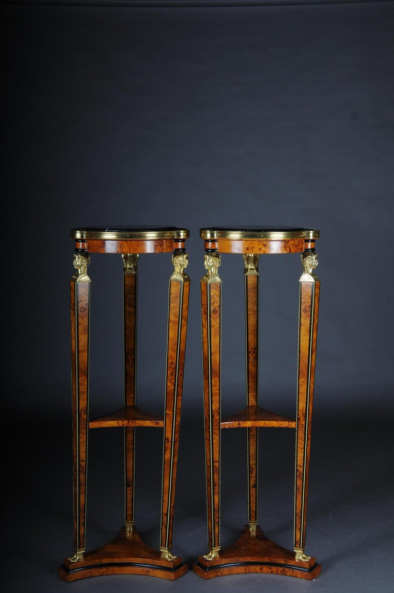 Large Classical Karyadite Side Table Column In The Empire