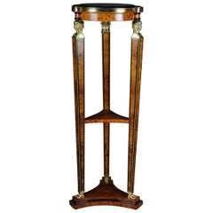 Large Classical Karyadite Side Table Column in the Empire Style