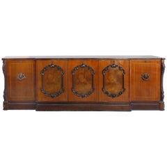 Large Classical Mahogany, Walnut, Satinwood & Ebonized Wood Sideboard/Credenza